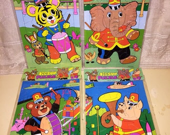 Lot of 4 Vintage NOS New Old Stock Kids Childs Jigsaw Puzzles Circus Animals Taiwan