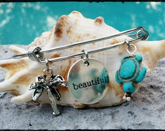 Ocean Side - Stainless Steel Adjustable Bangle with Inspirational Charm, Silver Palm Tree and Turquoise Turtle - Beach Theme Bangle/Bracelet