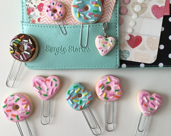 Kawaii Clay Donut Paper Planner Clips Book Marks and Hearts