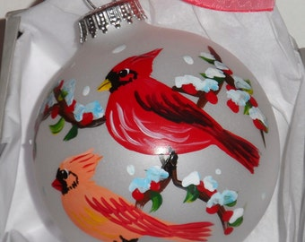 Cardinal Ornament, cardinal art, hand painted ornament, Maine art, cardinal ball, cardinal glass ornament 3 1/4 round with bow