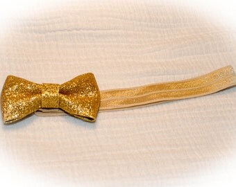 Gold Glitter Bow Baby Headband on Stretchy Elastic, Baby Shower Gift