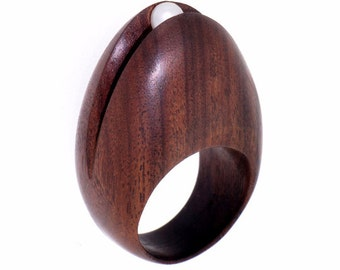EGG Rosewood Ring, Wood Ring, Pearl Ring, One-Of-A-Kind Wood Engagement Ring, Organic Ring, Natural Ring, Wooden Ring