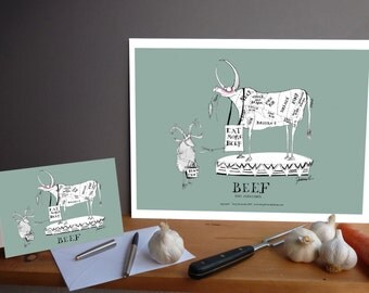 Fun Butchers Cuts 'Beef' Kitchen Gift Print and greeting card