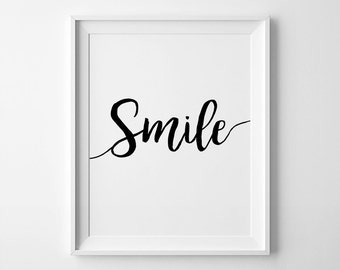 Inspirational Poster, Printable Smile, Typography Art, Smile Sign, Scandinave Design, Smile Print, Nordic Decor