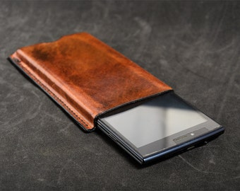 Universal sleeve for mobile phone, leather phone pouch, handmade, leather, Brown case, Buffalo leather