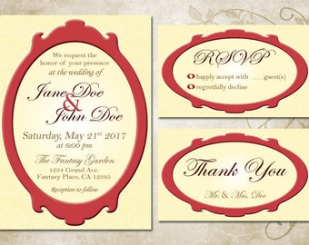 Burgundy & Beige Framed Wedding Invitation Set, Digital Download