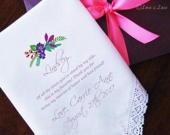 Wedding Handkerchief-PRINTED-Bridesmaid-Matron of Honor! FREE Gift Cases!!! Wedding Hankerchief-Gifts-Favors-Hankerchief-Bridesmaid-Wedding