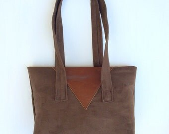 Roasted coffee suede handbag with generous leather embellishments-tapestry pockets-boho look