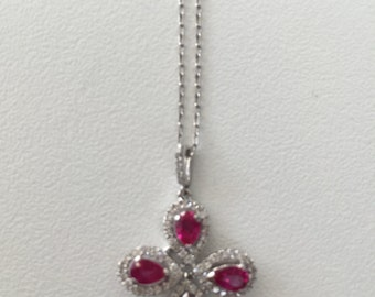 18K white gold diamond & rubilite necklace