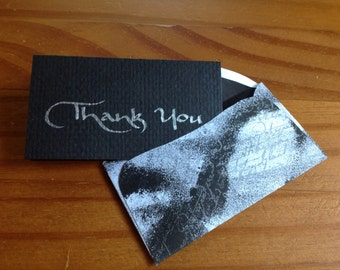 Thank You Cards Set, Mini Notecards, Thank You Notes, Custom Notecards, Personalized Note Cards, Mini Notecard Set, Black Notecards