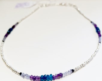Silver labradorite necklace Amethyst apatite and spinel