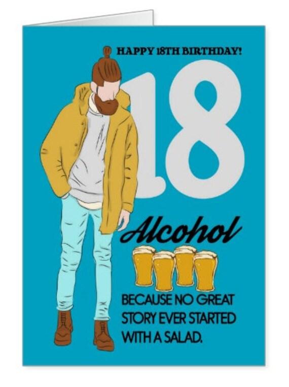 18e verjaardag alcohol trendy verjaardagskaart humoristische for Leuke versiering