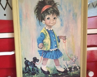 Cute Vintage 60's print Girl and poodles