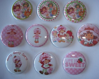 Strawberry Shortcake Set 2 Buttons set of 20 - 2 of Each