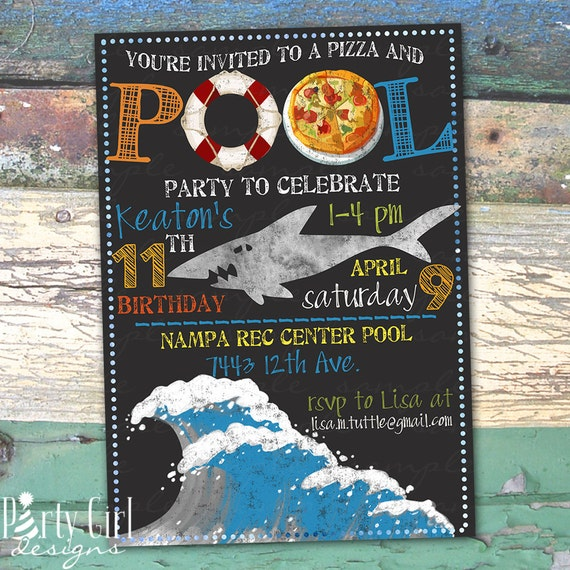 pizza swimming pool shark party personalized birthday