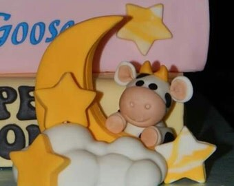 Cow Jumped Over the Moon Fondant Cake Topper Mother Goose