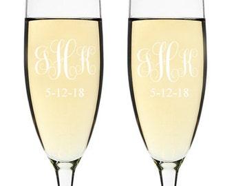 Elegant Swirl Monogram Engraved Wedding Toasting Flutes (PPD2025)