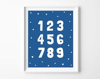 Nursery Printable Numbers Art, Wall Art Number 1-9 Printable Decor, Blue Baby Boy Nursery Decor, Instant Download *DIY PRINT*