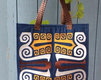 Art Nouveau Embroidered Denim Tote Bag
