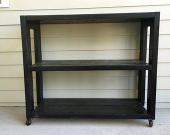 Wood Bar Cart with Casters