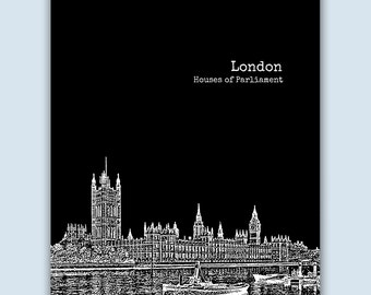 London Print, London Wall Art, London Skyline, Wedding Gift, London Art Print,  London UK Art,  London Poster,  London Decor