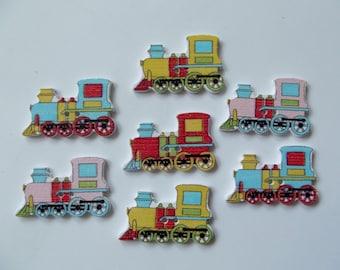 7 Wooden Train Buttons