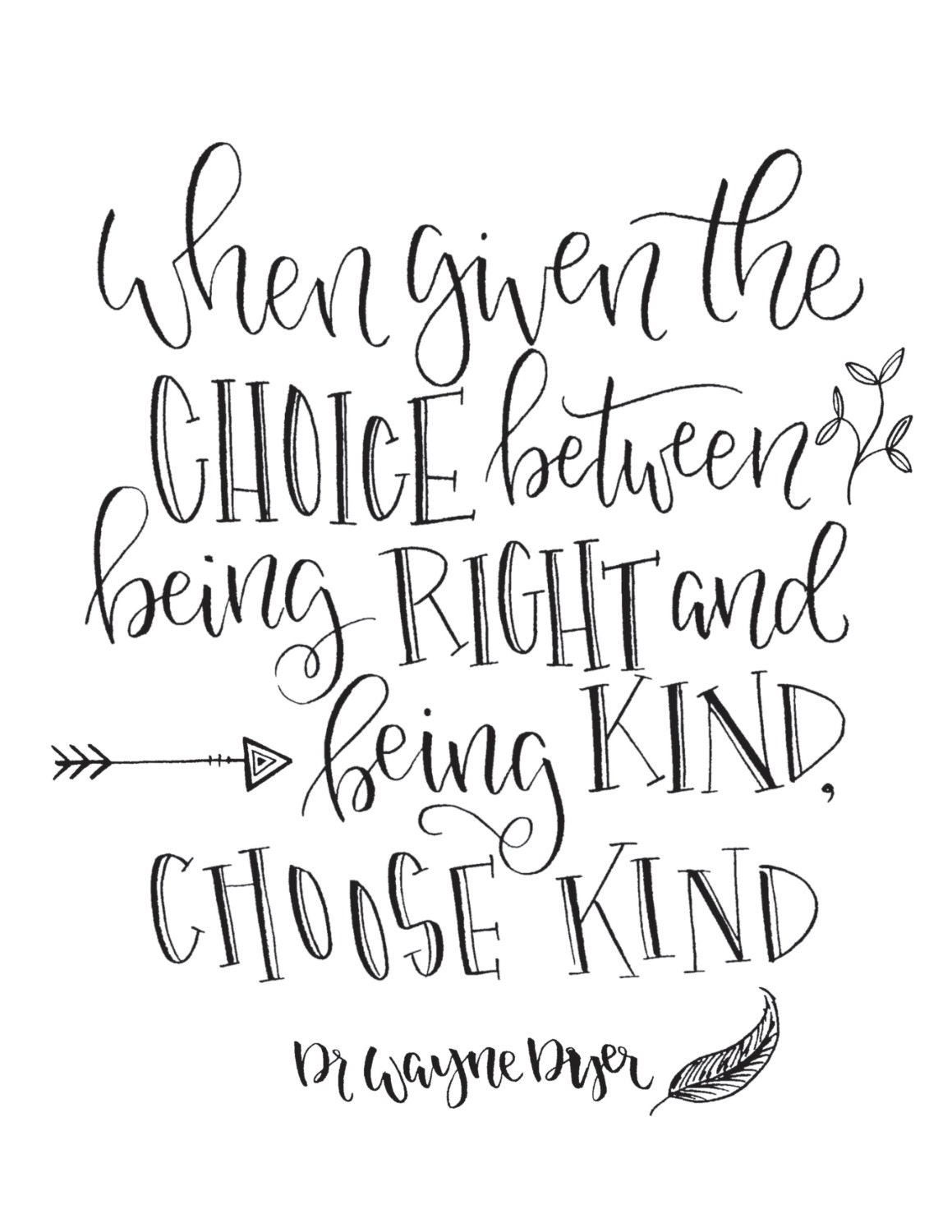 Choose Kind Hand Lettered Quote