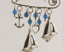 Sterling Silver Safety Pin with Nautical Theme and blue beads