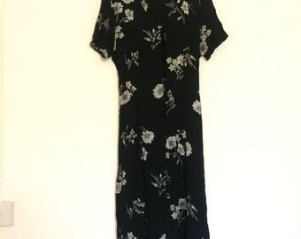Vintage Floral Maxi Dress UK 16