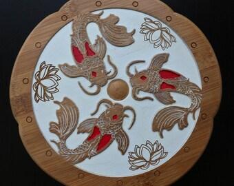 Koi Carp on bamboo Board