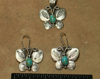 Sterling Silver Butterfly Earring/ Necklace set Turquoise