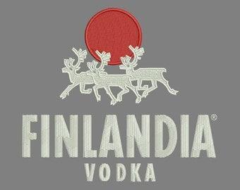 Finland vodka, logo, sun, deer, design, machine embroidered, instant download