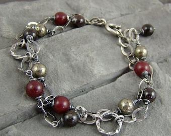 Sterling silver, jade, garnet and pyrite - multi bracelet