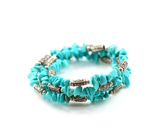 Vintage Turquoise Wrap-around Bracelet