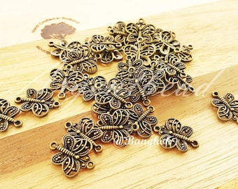 30pcs of 18x14mm Antique Bronze  Zinc Alloy Metal Butterfly Charms AG000108