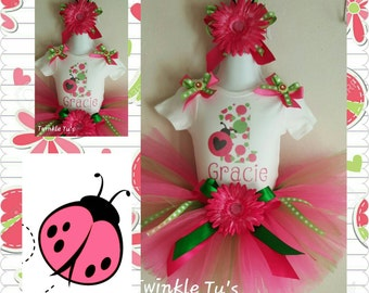 Pink or Red Ladybug Flower Birthday Tutu Outfit