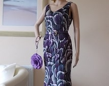 Purples & White EVENING DRESS Size Uk12, London Designer Dress, Ladies Summer Dress,  Zip and Belt, Fully Lined Classic Style Vintage Dress.