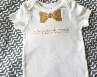 Mr handsome bow tie onesie