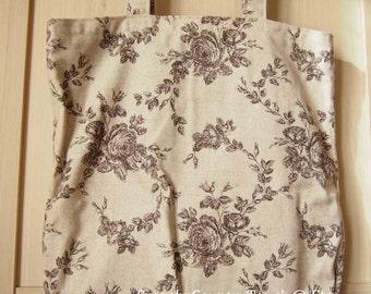 Bag canvas flower Rose Beige-Brown