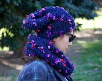 Handmade dark Blue Hat and Scarf