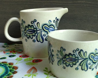 Vintage creamer and sugar bowl - Ceramic Crown Clarence ironstone - Made in England - Reasons blue flowers