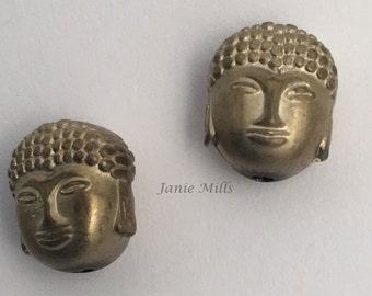 Buddha head Hematite bead priced as a pair