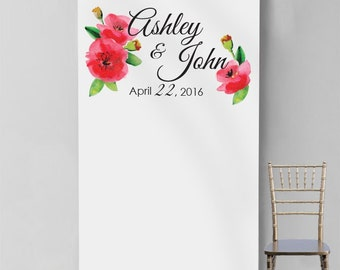 Personalized Watercolor Poppies Photo Booth Backdrop (MICPWPPB47)