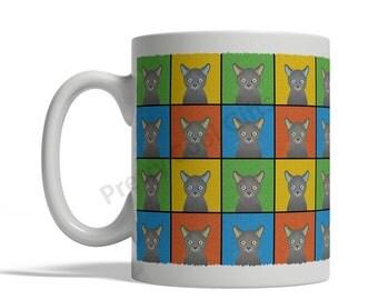 Russian Blue Cat Cartoon Pop-Art Mug - 11oz. Ceramic Coffee Tea Cup