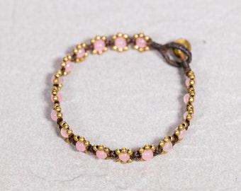 Rose quartz Bracelet,Beads Bracelet,Gold And Pink Bracelet, B-24