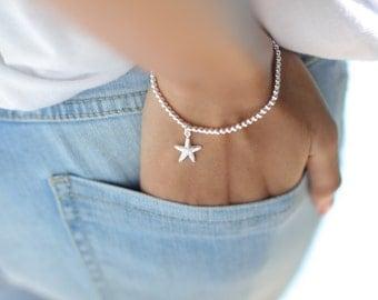 Sterling Silver bracelet, Star fish charm  bracelet, Silver bracelet, Chunky silver bracelet, Silver wrist chain, (BS2)