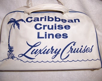 Caribbean Cruise Lines Travel Bag 1960's Vintage EXC!