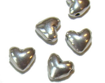 Sterling Silver Horizontal Puffed Heart Beads - Qty of 25