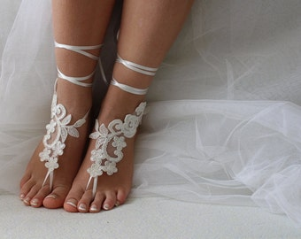 5 sets of bridesmaid, ivory lace, wedding sandals,  shoes,   free shipping!   Anklet,   bridal sandals,  bridesmaids,  wedding  gifts.......