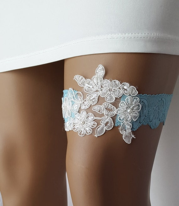 Unique Wedding Garter: Garter Toss Garters Ivoryblue Lace Wedding By DreamAndReality